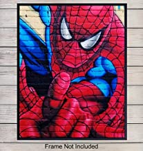 Spiderman Superheroes Graffiti Street Art Mural Home Decor, Wall Art - Marvel Comic Book Print - Unique Room Decorations for Man Cave, Boys, Kids, Teens Room - Gift for Men, Avengers, Stan Lee Fans