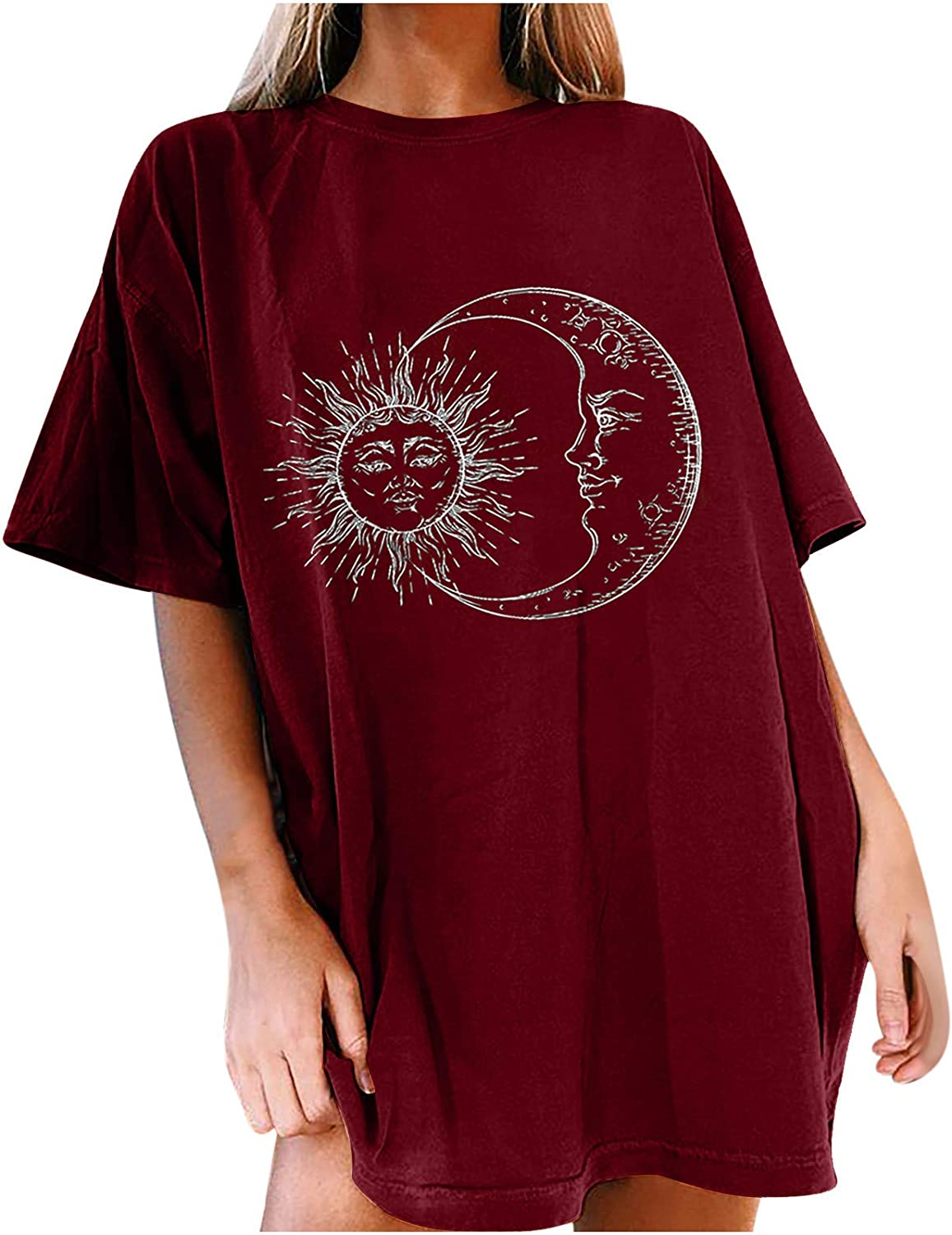 Vintage Graphic Tees for Women Sun and Moon Print Tie Dye Casual Short Sleeve Crewneck Oversized T Shirts Tops
