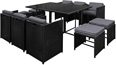 Gardeon 11pcs Outdoor Dining Furniture Set Rattan Wicker Chair and Table-Black