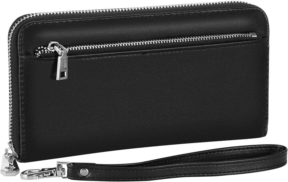 XEYOU Leather Wallets for Women RFID Blocking Zipper Around Credit Card Holder Cellphone Wallet for Women (Black)