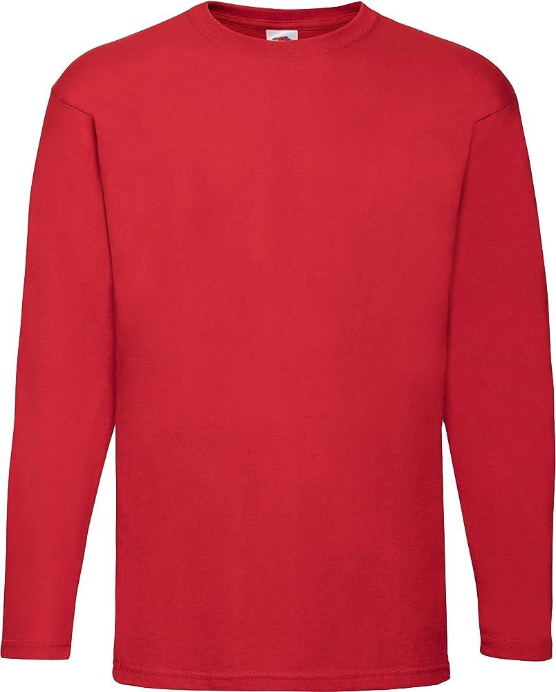 fruit of the loom, maglietta a maniche lunghe per uomo,97% cotone, 3% poliestere sflr