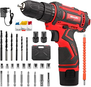 Sponsored Ad – MinRi Electric Screw Driver, 12V Cordless Drill Driver, 30PCS Variable Speed Multifunctional Rechargeable P...