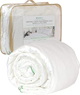 HealthyLine 100% Mulberry Silk Comforter Filled with Natural Fine Pure Mulberry Long-Strand Silk - 5/8 inch Thick 100% Mulberry Silk Shell, (200 GSM, King, 98 in x 89 in) All Seasons - Allergy-Free