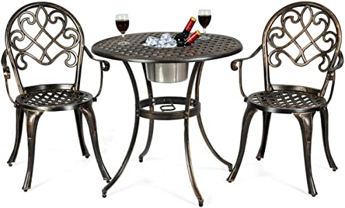 Giantex 3pcs Bistro Table Set Cast Aluminum Outdoor Patio Furniture Set Round Table W/Removable Ice Bucket, 2 Chairs Antique Garden Furniture Weather Resistant (Antique Bronze)