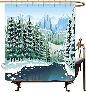 MaryMunger Shower Curtain with Hooks Forest Wildwood in Winter Season with Snowy Mountains and Frozen River Cartoon Style Polyester Fabric Waterproof W36x72L Green Blue White
