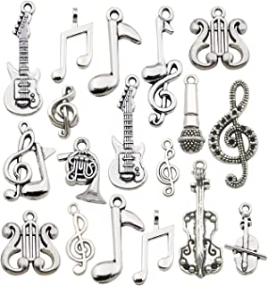 Youdiyla 70pcs Musical Symbol Charms Collection, Bulk Music Notes Elements Guitar Violin Microphon Tape Horn Charms Metal Pendant Craft Supplies Findings for Jewelry Making-Silver HM211