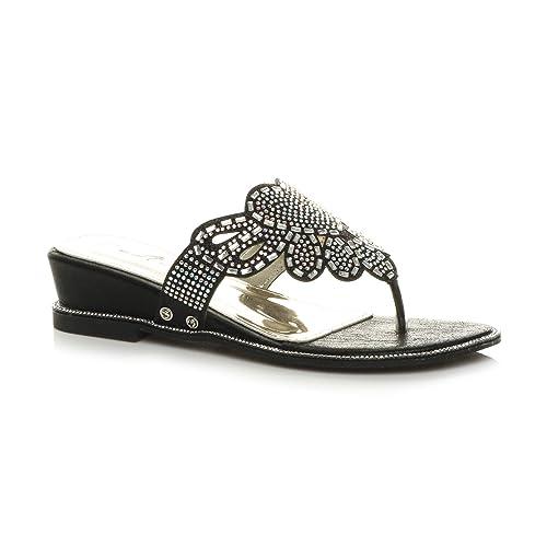 99ccc9598 Ajvani Womens Ladies Low mid Wedge Heel Diamante Evening Toe Post Sandals  Mules Size