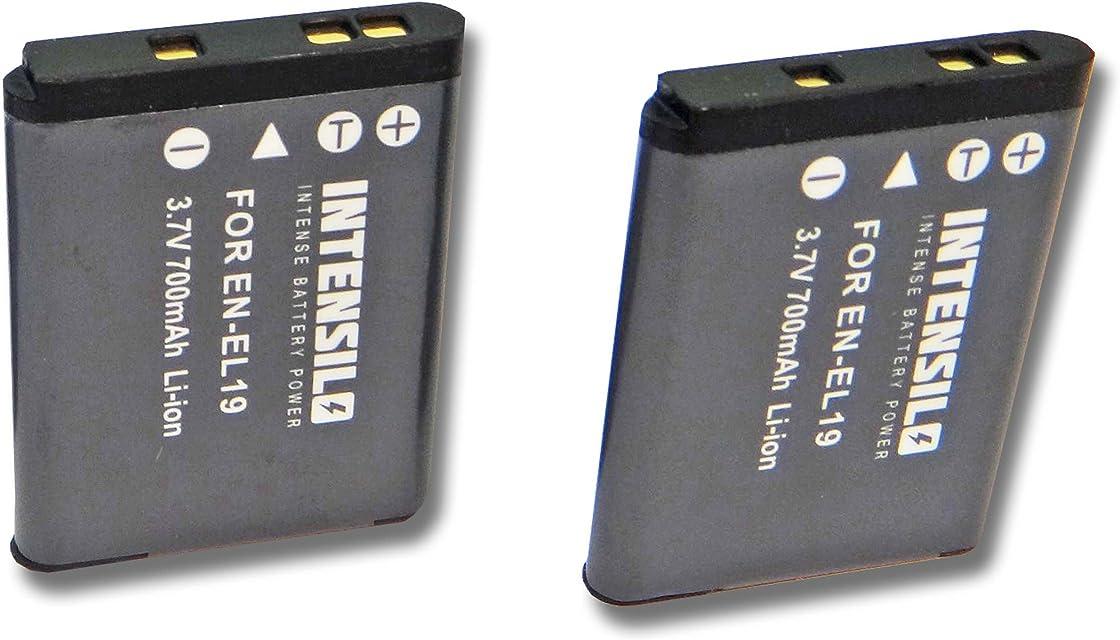 INTENSILO 2x batería Li-Ion 700mAh (3.7V) para cámara videocámara Nikon CoolPix A100 y EN-EL19.