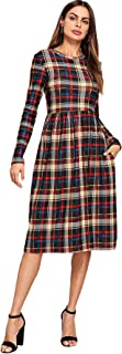 MAKEMECHIC Women's Casual Long Sleeve A Line Plaid Dress with Pockets