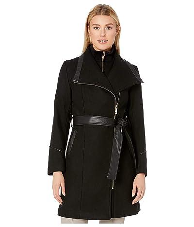 Vince Camuto Belted Asymmetrical Zip Wool Coat with Bib V29763 (Black) Women