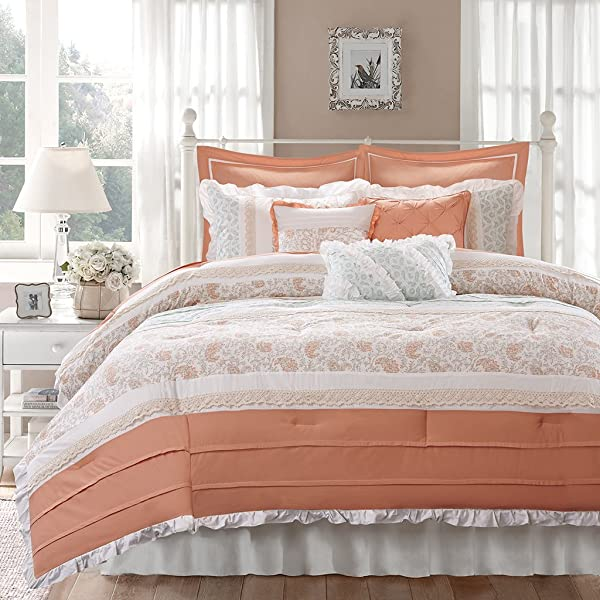 Madison Park Dawn 9 Piece Comforter Set Coral Queen