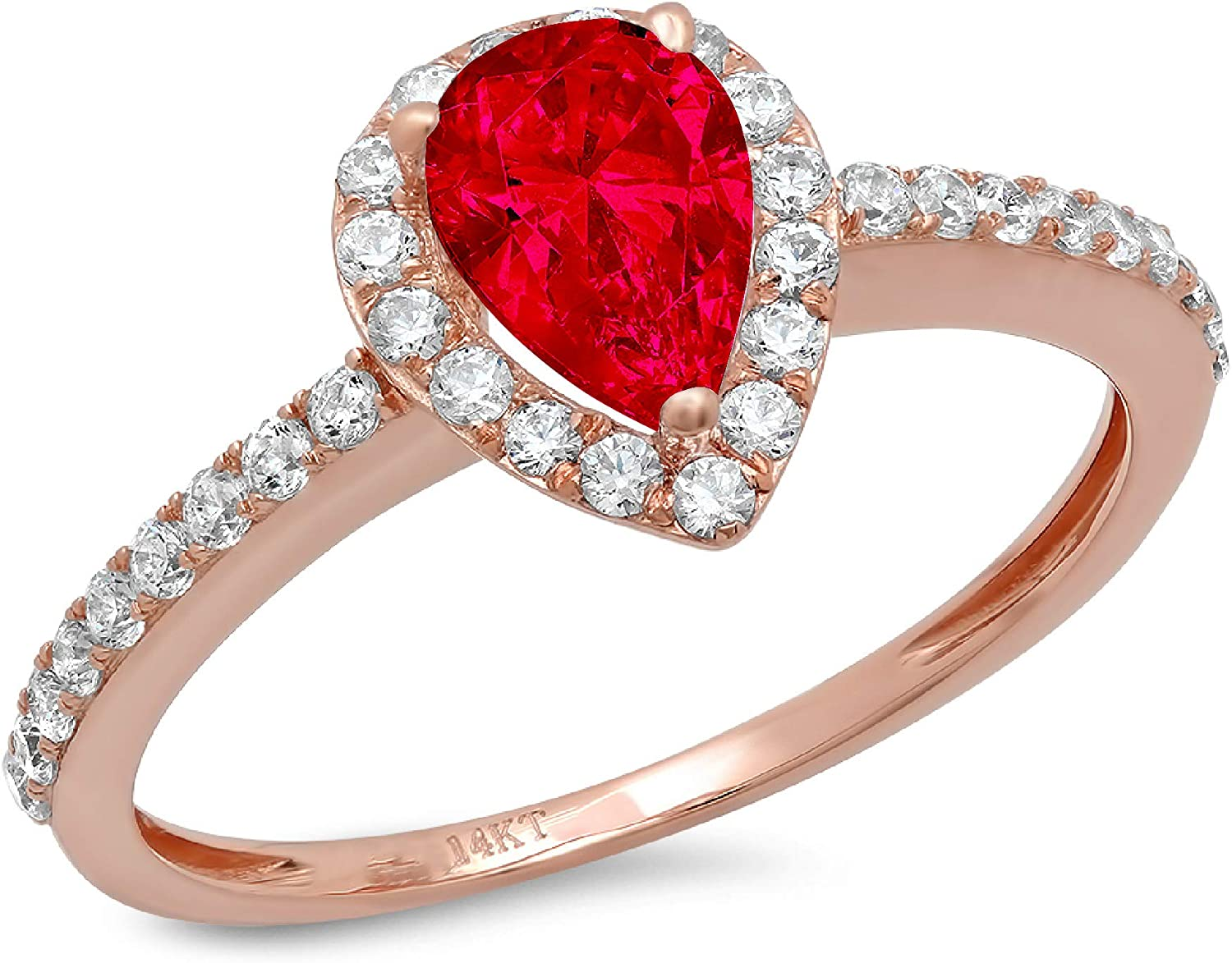 1.16ct Brilliant Pear Cut Solitaire with accent Flawless Ideal VVS1 Simulated CZ Red Ruby Engagement Promise Statement Anniversary Bridal Wedding Designer Ring Solid 14k Rose Gold