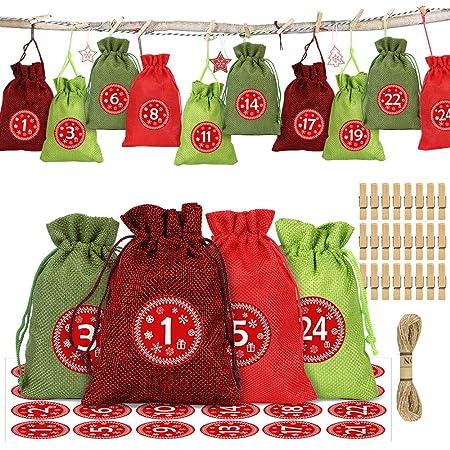 pour DIY D/écoration de No/ël MojiDecor Calendrier de lAvent Mariage et Thanksgiving Sacs Cadeau avec 24 Autocollants pour Les num/éroter et 24 Pinces en Bois 24 Sachets en Jute /à Remplir