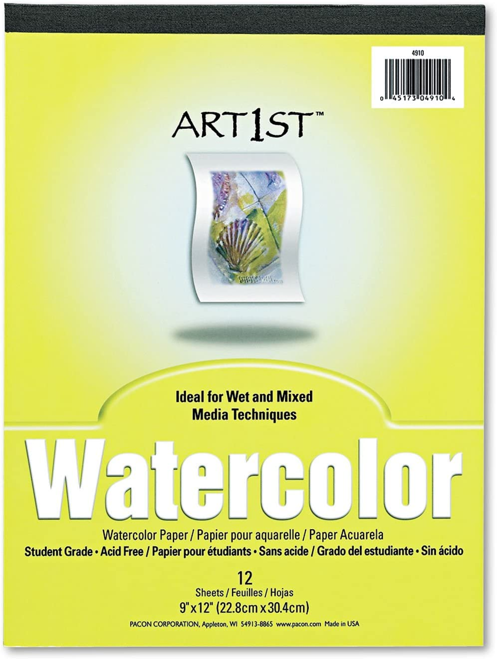 Pacon Max 51% OFF 4910 Artist Watercolor Paper Pad shipfree x 9 12 Sheets White