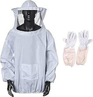 Xntun Professional White Bee Keeping Suit, Jacket+Beekeeper Gloves 1 Pair