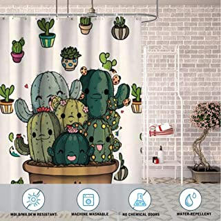Sunshine ERosIon Shower Curtain for Bathroom Popular Printing Design Water Resistant Free hugs Succulent Plants Cartoon Image Potted 72inch72inch.