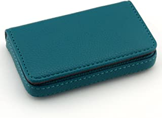 Partstock(TM) Flip Style Leather Business Name Card Wallet / Holder 25 Cards Case 4L x 2.8W inches with Magnetic Shut.(Blue)