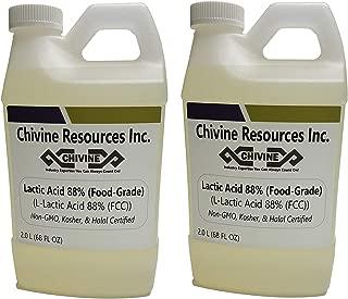 Lactic Acid 88% (Solution) Food Grade; Non-GMO, Kosher & Halal Certified - 4 Liter (136 FL OZ)