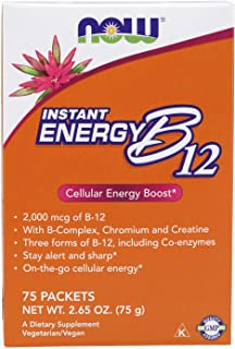 NOW Supplements, Instant Energy B-12 (2,000 mcg of B-12 per packet), Cellular Energy Boost*, 75 Packets