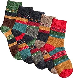 YSense Women's Thick Knit Warm Casual Wool Crew Winter Socks 5 Piece