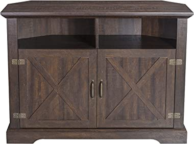 HOOMIC 44'' Modern Farmhouse Corner TV Stand for TVs Up to 50 Inches, TV Console Table with Storage Cabinets, Buffet Cabinet
