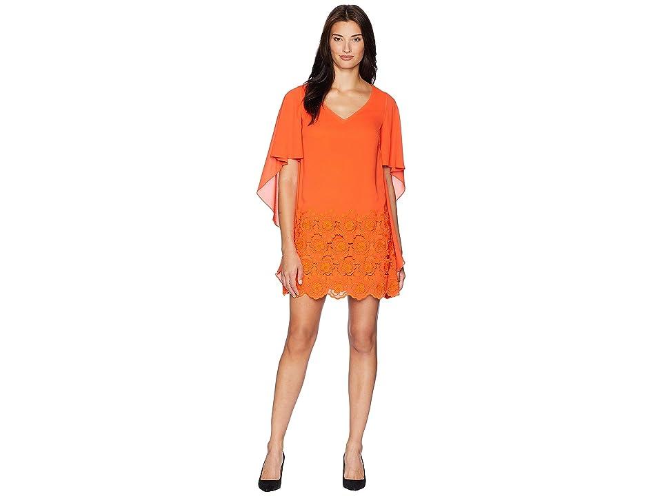 Tahari by ASL Embroidered Crepe V-Neck Dress (Tangerine) Women
