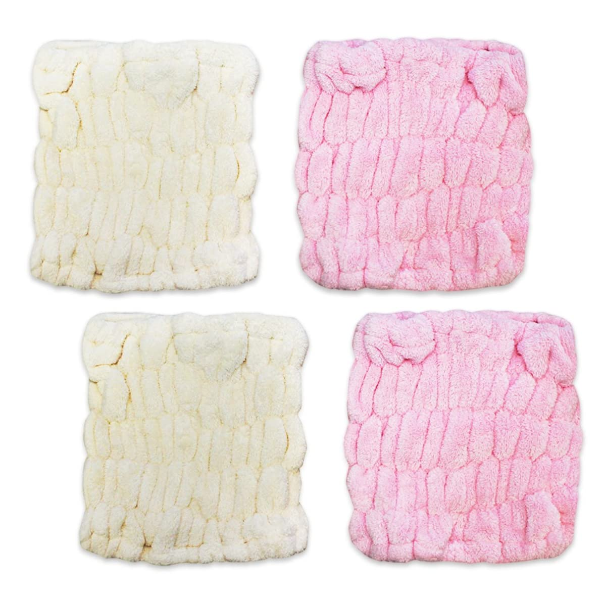 深さドラッグドラッグふんわり 柔らか マイクロ ファイバー 吸水 ヘアターバン 2色 4枚組(ピンク&アイボリー)