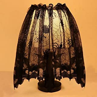 *m·kvfa* Halloween Decorative Lamp Shade Knitted Curtain Lamp Cover Cloth Black Spider Bat Lace Fireplace Cloth for Halloween Party Festive Scary Movie Nights