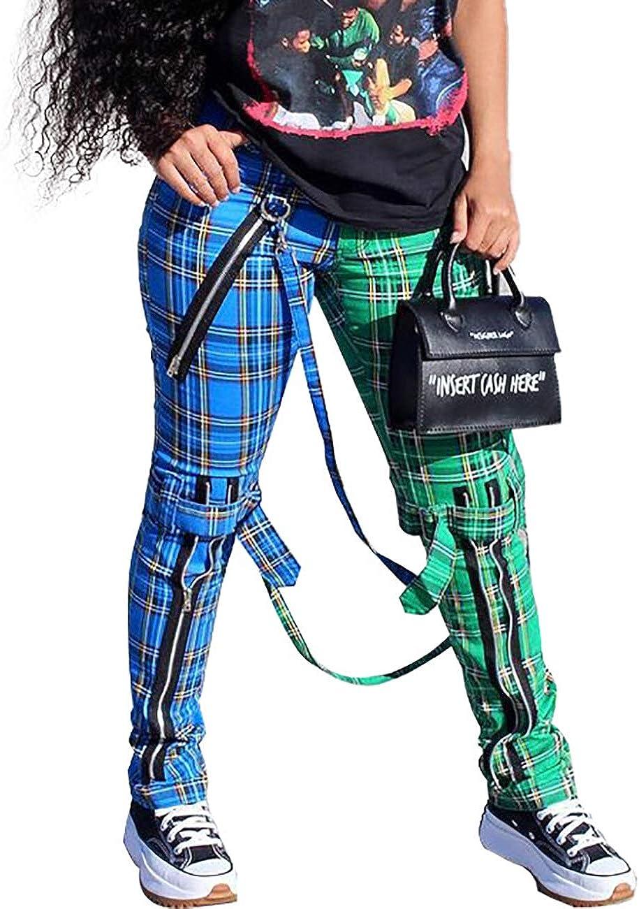 MESLIMA Women's Fashion Plaid Printed Mid-Waist Fake Zipper Hanging Bag Casual Color Block Pants