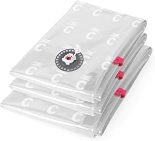 Ensemble de 3 sacs de compression Compactor sous vide économiseur d'espace, taille 1 x Grand et 2 x Moyen, Extra-plat, Gam...