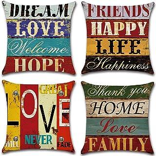 Gspirit Taie d'oreiller, Lot de 4 en Coton et Lin Rétro Style Housse De Coussin carré pour Lit Voiture De La Maison Canapé...