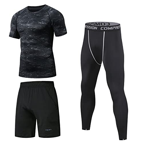 c9b43ddfe51d7 Niksa 3 Pcs Mens Fitness Gym Clothing Set,Sports Wear Exercise Clothes Men  Activewear,