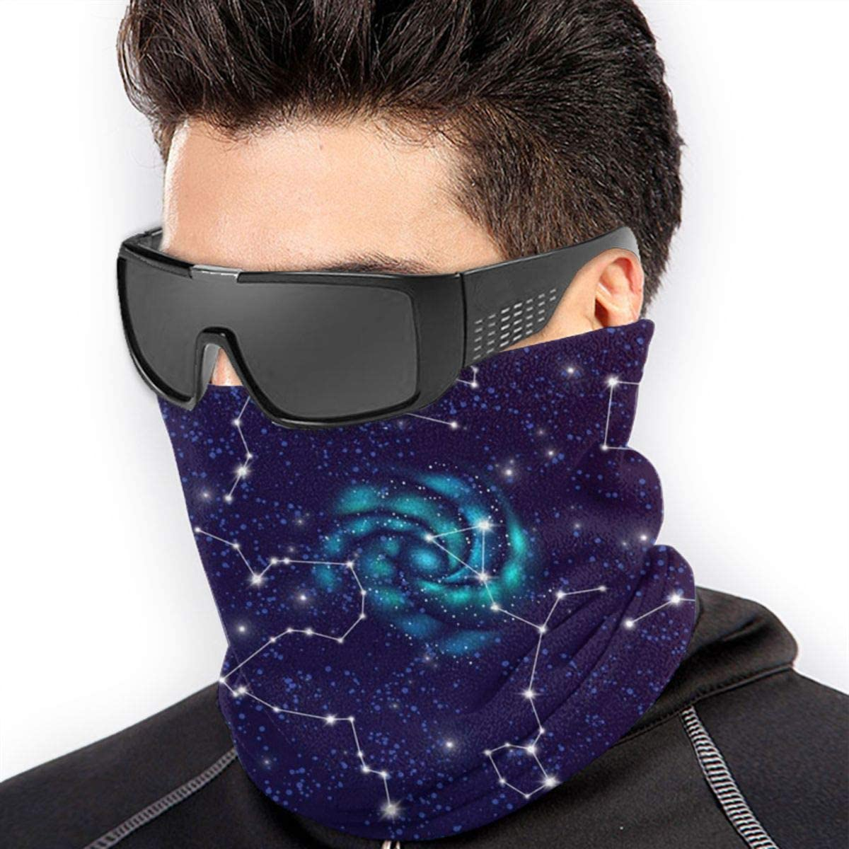 CLERO& Scarf Fleece Neck Warmer Space Constellations Windproof Winter Neck Gaiter Cold Weather Face Mask for Men Women
