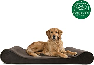 Furhaven Pet Dog Bed   Orthopedic Micro Velvet Ergonomic Luxe Lounger Cradle Mattress Contour Pet Bed w/ Removable Cover for Dogs & Cats - Available in Multiple Colors & Styles