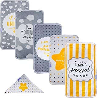 Unisex Burp Cloths for Baby Boys & Girls, 100% Organic Bamboo Soft Cotton, High Absorbent Large Size Towels, Triple Layer, Beautiful Designs, Baby Feeding Bibs, Cute Designs, Burping Rags - Pack of 5