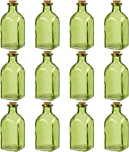 Juvale Clear Glass Bottles Cork Lids- 12 Pack Small Green Transparent Jars Stoppers Vintage Wedding Decoration, DIY, Home, Party Favors, 4.75 x 2 x 2 inches