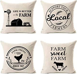 MFGNEH Farm Sweet Farm Farmhouse Pillow Covers Set of 4 with Life is Better On The Farm Quote 18 x 18 Inch Farmhouse Decor Cotton Linen Pillow Case Cushion Cover