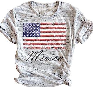 Women's T Shirt American Flag Print Baseball Shirt 4th of July Patriotic Shirts Casual Short Sleeve Tee Tops