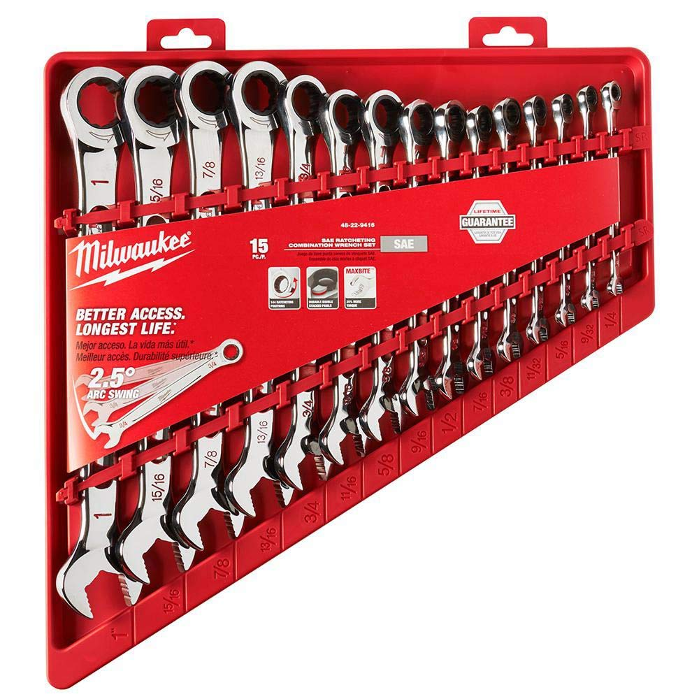 SAE Milwaukee Electric Tools MLW48-22-9416 Ratcheting Combination Wrench Set