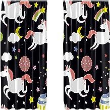 Lot de 2 rideaux occultants en microfibre - Motif licorne, cupcake et étoiles - 140 x 213 cm
