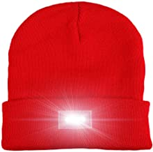 (Red) - Walsilk 5 LED Knitted Beanie Hat,Hands Free LED Beanie Cap,Lighted Headlamp Hat, Perfect Flashlight Unisex Winter Warm Cap for Hunting,Camping, Grilling, Auto Repair, Jogging, Walking, Running,Biking