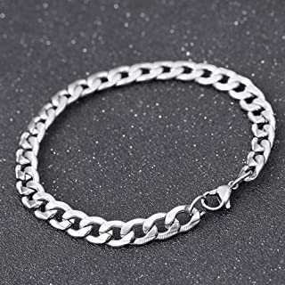 1pc Chunky Chain Bracelets Simple Silver Fashion Men Jewelry Hand Decor Titanium Steel Ornament Gift