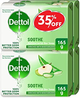 Dettol Soothe Anti-Bacterial Bar Soap 165g Pack Of 4 - Aloe Vera & Apple