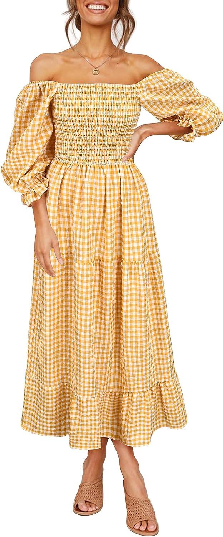 Krisbok Women's 3/4 Puff Sleeve Plaid Dress Square Neck Long Casual High Waist A Line Beach Flowy Swing Maxi Dresses