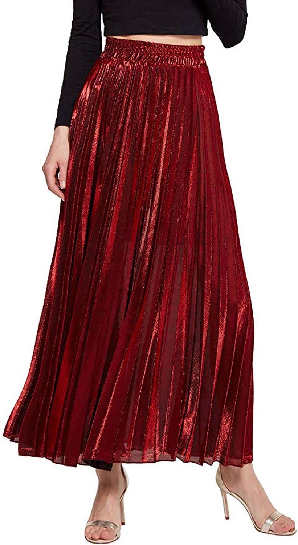 Joymosho Women's Metallic Shiny Shimmer Accordion Pleated Long Maxi Party Skirt