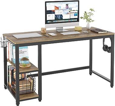 HOMECHO Bureau d'ordinateur, avec 2 Étagères Porte-gobelet et Porte-Casque, Table Informatique, pour étude et Bureau, Bur