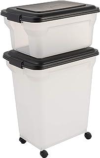 Iris Ohyama, Pet food storage container, set of 2, 20 L & 45 L for 7,5 & 15 kg, flip-up lid, airtight, transparent, shovel...