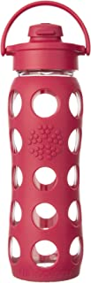 Lifefactory 22-Ounce BPA-Free Glass Water Bottle with Flip Cap and Silicone Sleeve, Raspberry