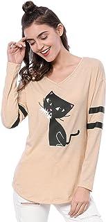Allegra K Women's V Neck Drop Shoulder Striped Cartoon Cat Print Tunic Top