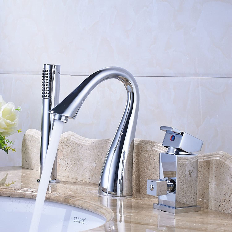 LHS Chrome Bathroom Sink Faucet Mixer Tap Deck Mount With Hand Shower